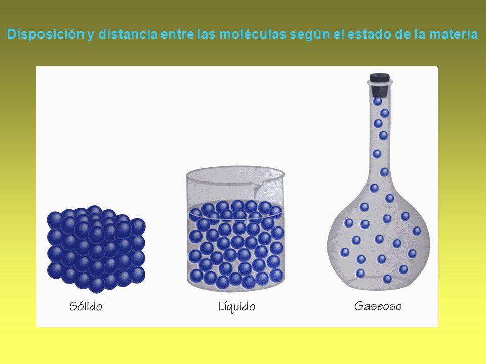 Disposición y distancia entre las moléculas según el estado de la materia