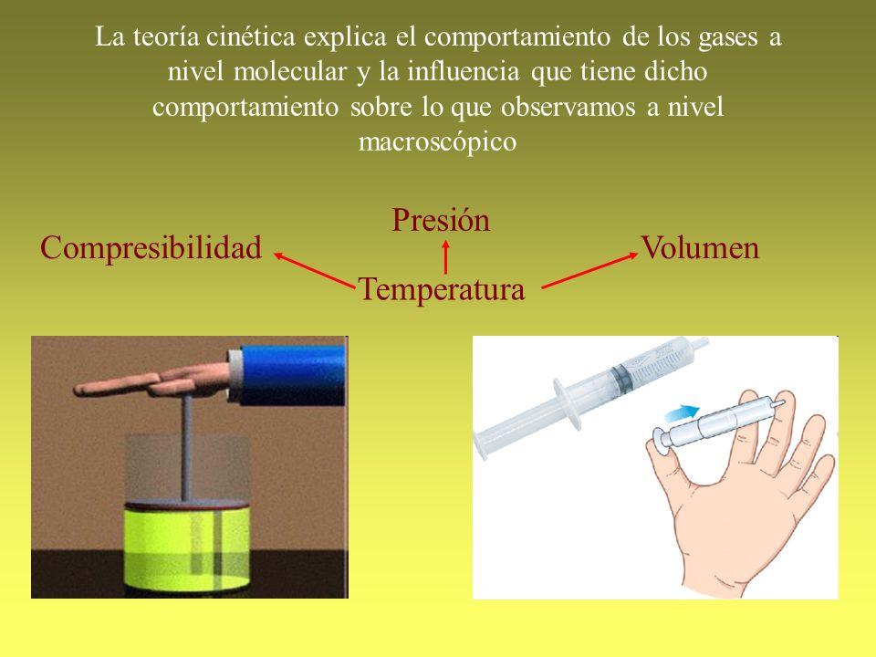Compresibilidad La teoría cinética explica el comportamiento de los gases a nivel molecular y la influencia que tiene dicho comportamiento sobre lo qu