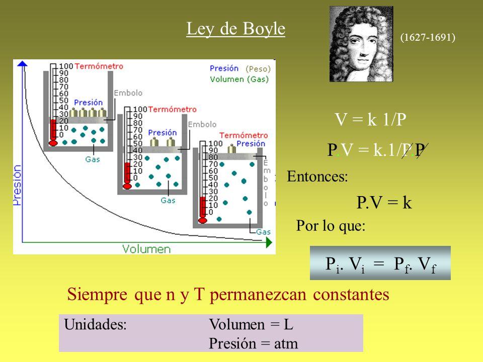Ley de Boyle V = k 1/P P.V = k.1/P.P Entonces: P.V = k Por lo que: P i. V i = P f. V f Siempre que n y T permanezcan constantes (1627-1691) Unidades: