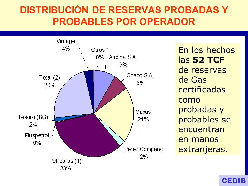 Petrobras Total Maxus REPSOL Andina REPSOL Chaco Amoco Otros 6% 9% 8% 21% 23% 33% Empresas de EXPLORACION Y EXPLOTACION, que controlan las reservas de gas en Bolivia Empresas capitalizadas CEDIB