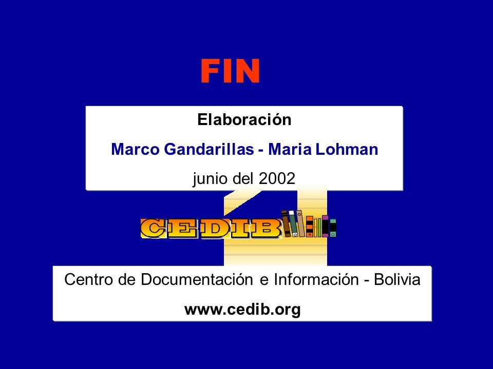 Elaboración Marco Gandarillas - Maria Lohman junio del 2002 FIN Centro de Documentación e Información - Bolivia www.cedib.org