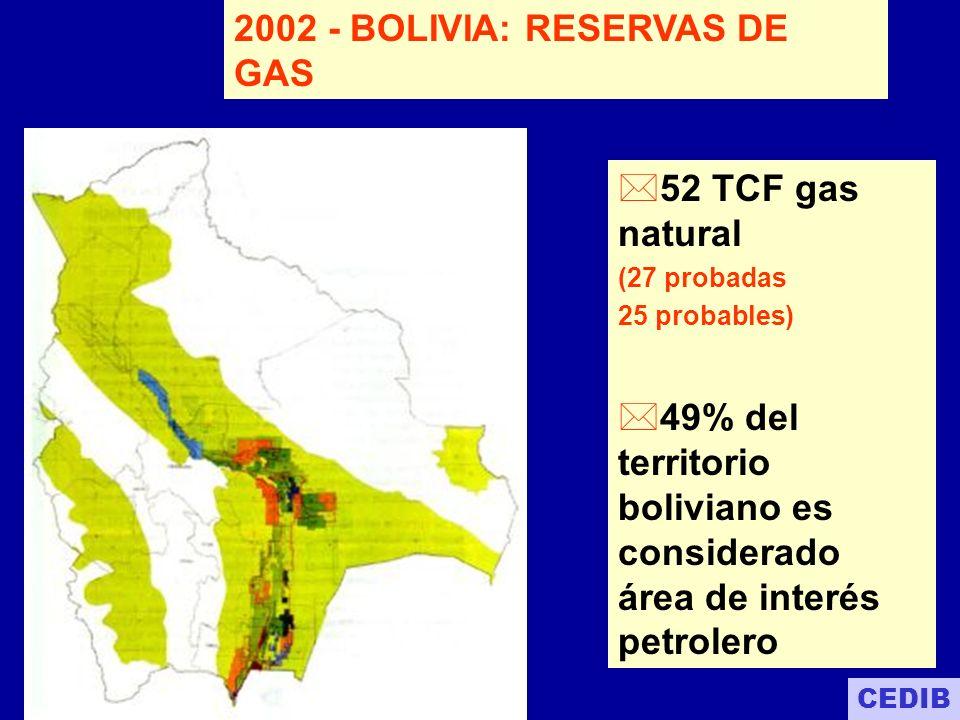 RESERVAS DE GAS NATURAL CERTIFICADAS 52 TPC 27 TPC 24 TPC Del total de las reservas de gas natural sólo 27,3 TCF son probadas.