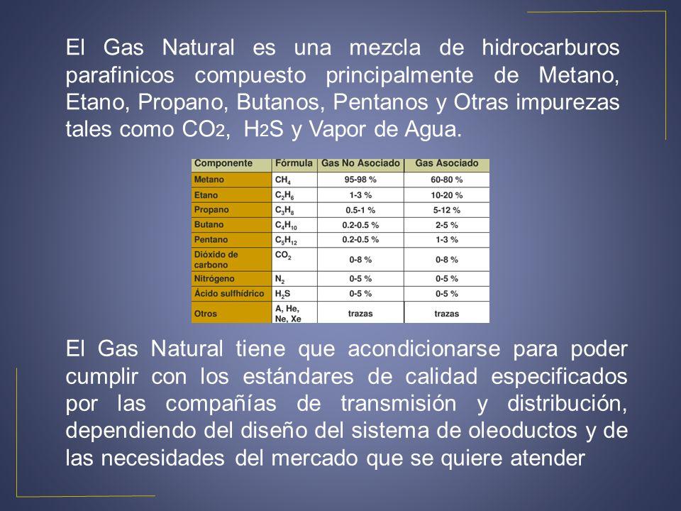 El Gas Natural es una mezcla de hidrocarburos parafinicos compuesto principalmente de Metano, Etano, Propano, Butanos, Pentanos y Otras impurezas tale