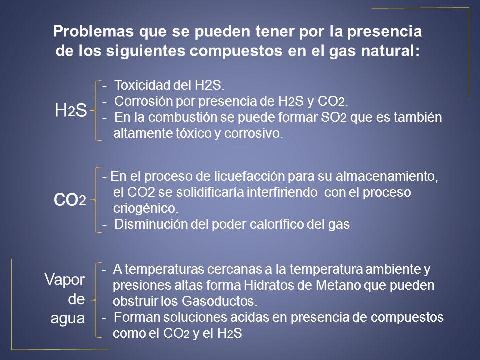 Problemas que se pueden tener por la presencia de los siguientes compuestos en el gas natural: H2SH2S co 2 Vapor de agua - Toxicidad del H2S. - Corros