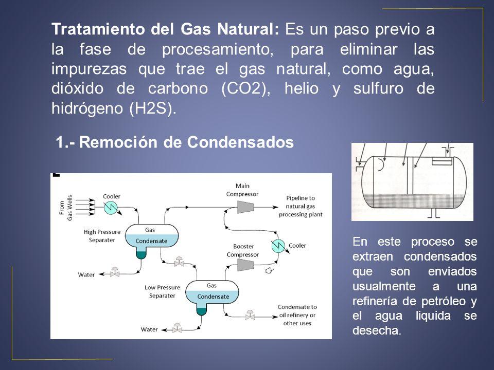 Tratamiento del Gas Natural: Es un paso previo a la fase de procesamiento, para eliminar las impurezas que trae el gas natural, como agua, dióxido de