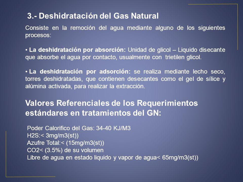3.- Deshidratación del Gas Natural Consiste en la remoción del agua mediante alguno de los siguientes procesos: La deshidratación por absorción: Unida
