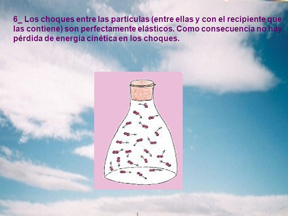 6_ Los choques entre las partículas (entre ellas y con el recipiente que las contiene) son perfectamente elásticos. Como consecuencia no hay pérdida d