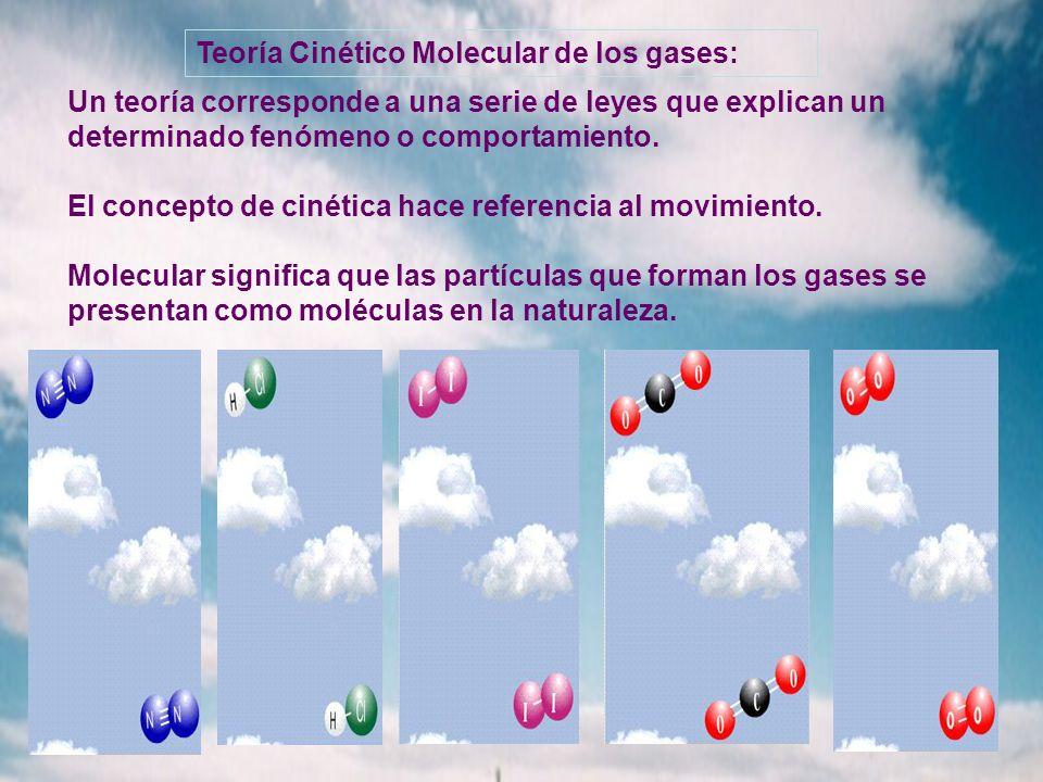Teoría Cinético Molecular de los gases: Un teoría corresponde a una serie de leyes que explican un determinado fenómeno o comportamiento. El concepto