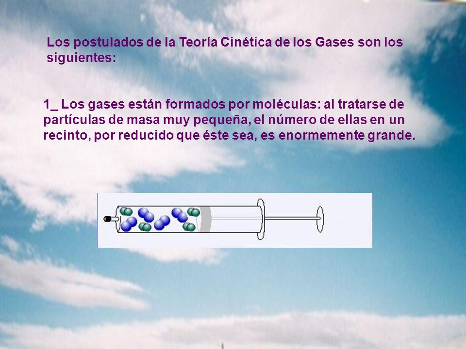 Los postulados de la Teoría Cinética de los Gases son los siguientes: 1_ Los gases están formados por moléculas: al tratarse de partículas de masa muy pequeña, el número de ellas en un recinto, por reducido que éste sea, es enormemente grande.