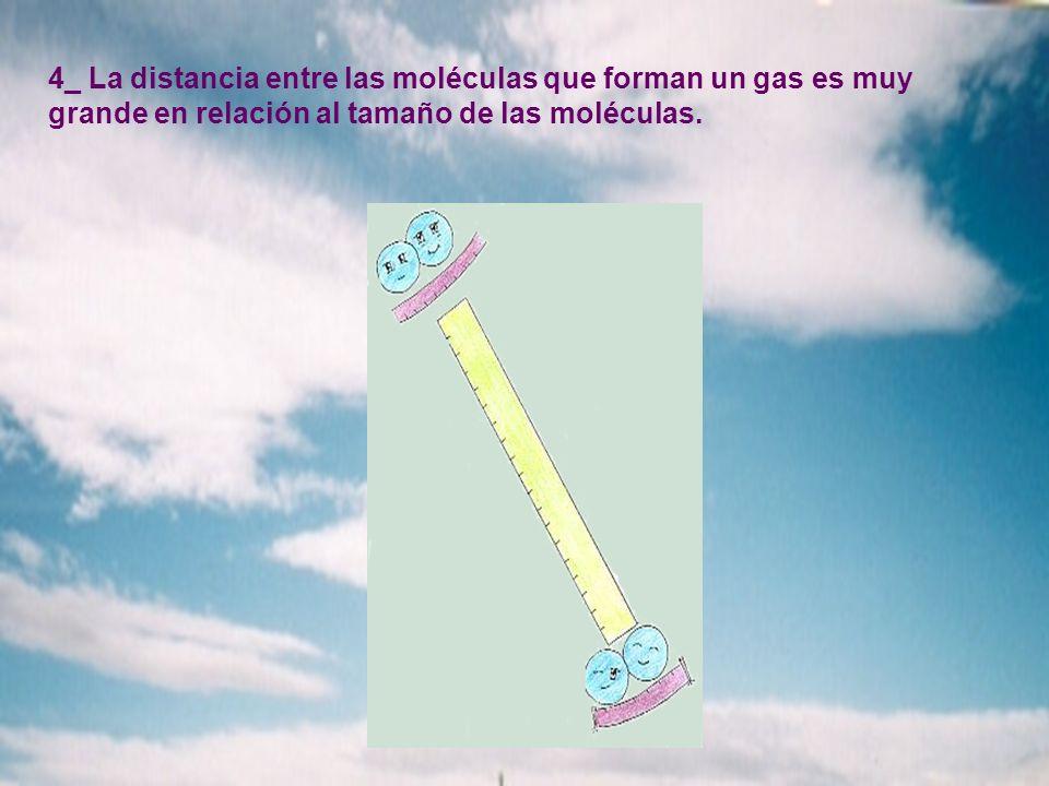 4_ La distancia entre las moléculas que forman un gas es muy grande en relación al tamaño de las moléculas.