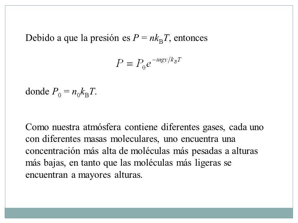 Debido a que la presión es P = nk B T, entonces donde P 0 = n 0 k B T.