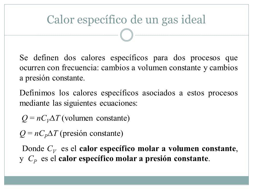 Calor específico de un gas ideal Se definen dos calores específicos para dos procesos que ocurren con frecuencia: cambios a volumen constante y cambios a presión constante.