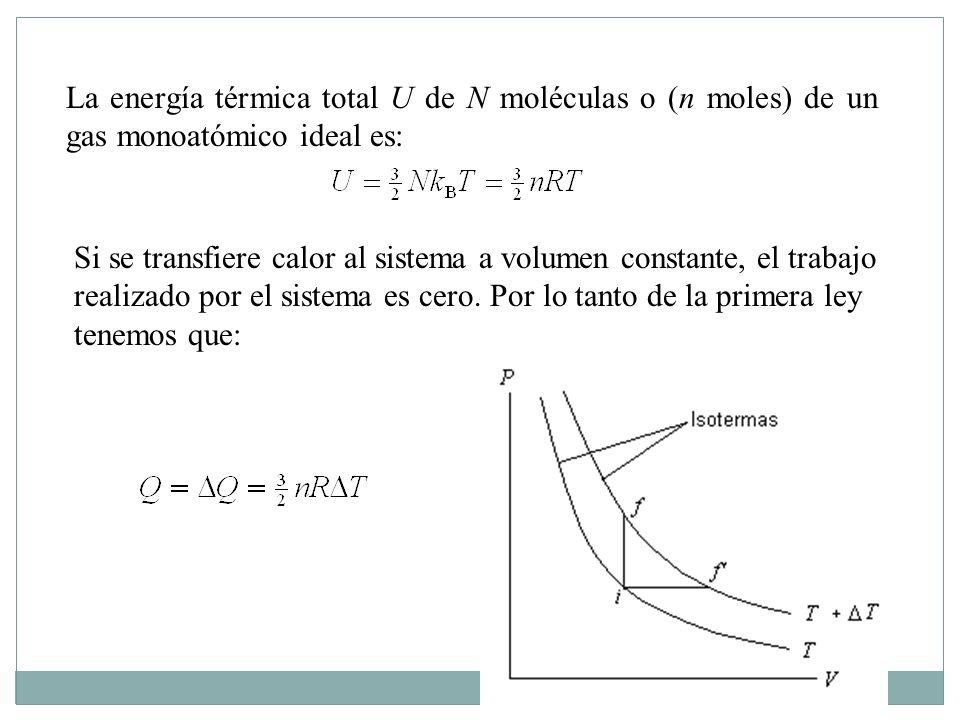 La energía térmica total U de N moléculas o (n moles) de un gas monoatómico ideal es: Si se transfiere calor al sistema a volumen constante, el trabajo realizado por el sistema es cero.