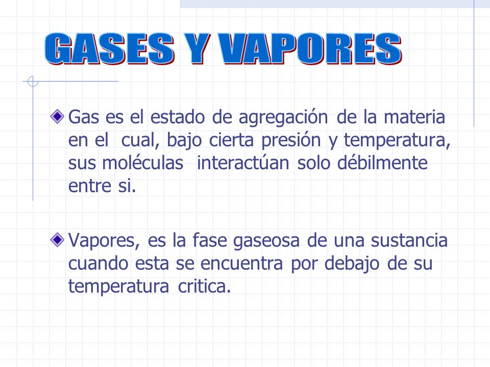 Gas es el estado de agregación de la materia en el cual, bajo cierta presión y temperatura, sus moléculas interactúan solo débilmente entre si.