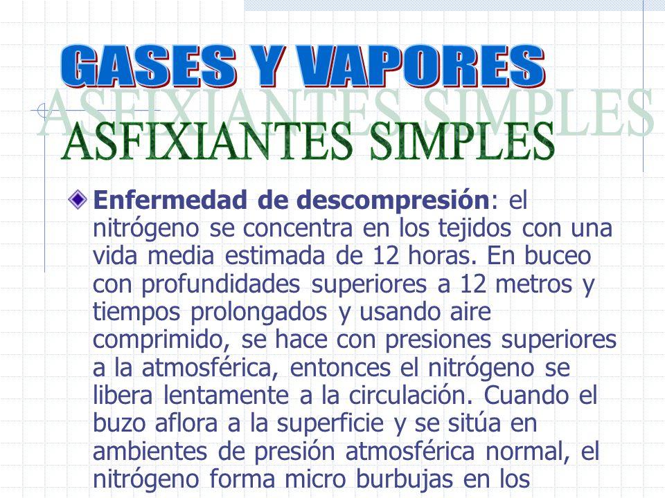 Enfermedad de descompresión: el nitrógeno se concentra en los tejidos con una vida media estimada de 12 horas.