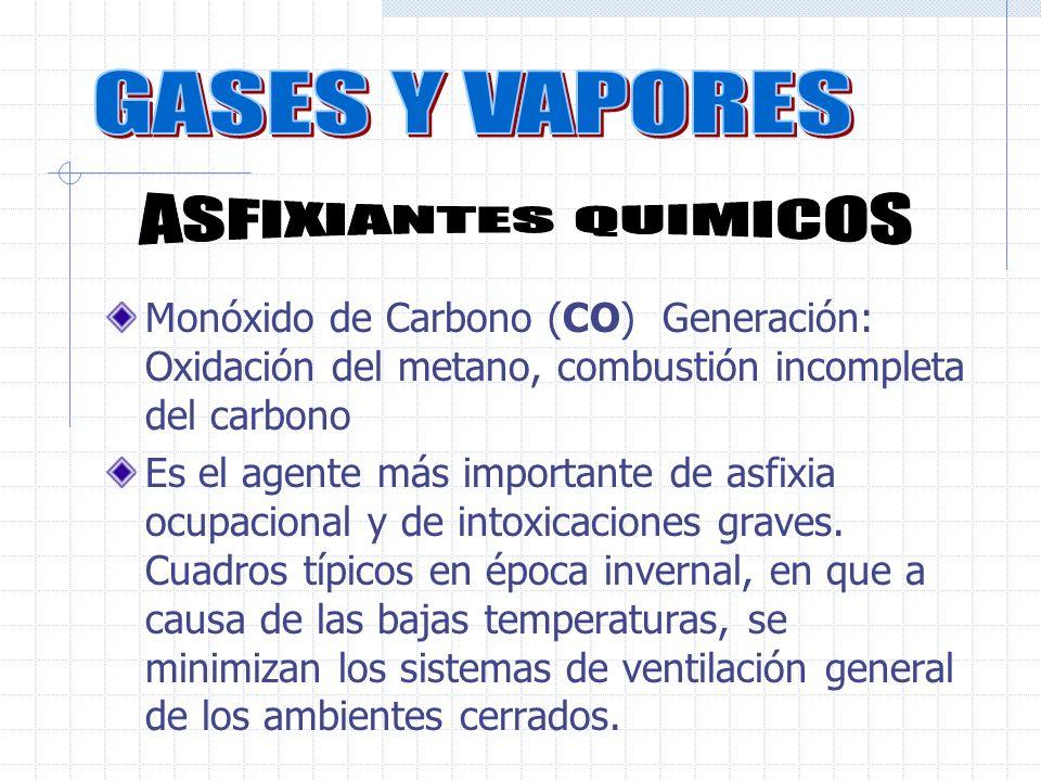 Monóxido de Carbono (CO) Generación: Oxidación del metano, combustión incompleta del carbono Es el agente más importante de asfixia ocupacional y de intoxicaciones graves.