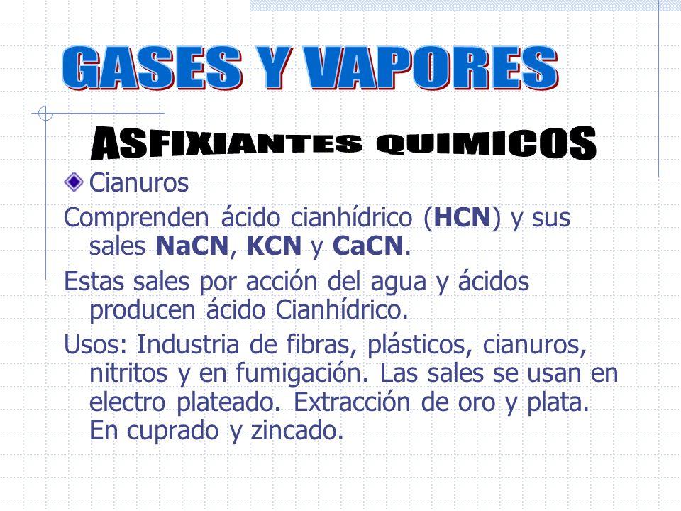 Cianuros Comprenden ácido cianhídrico (HCN) y sus sales NaCN, KCN y CaCN.