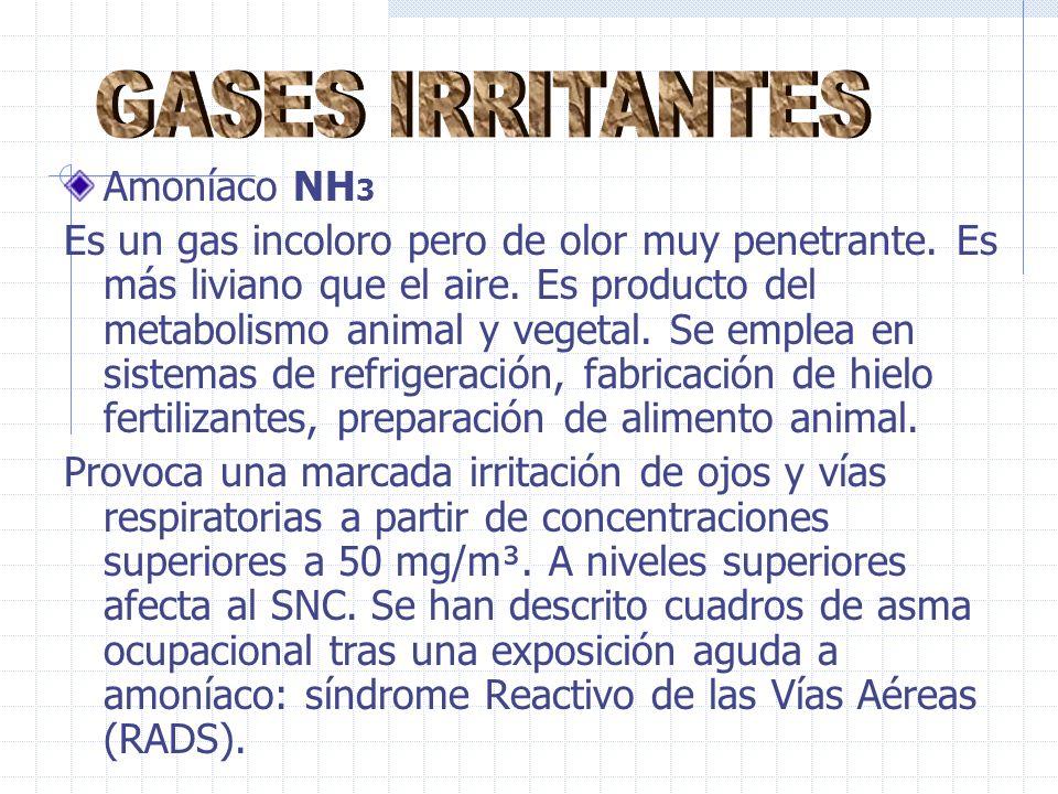 Amoníaco NH 3 Es un gas incoloro pero de olor muy penetrante.