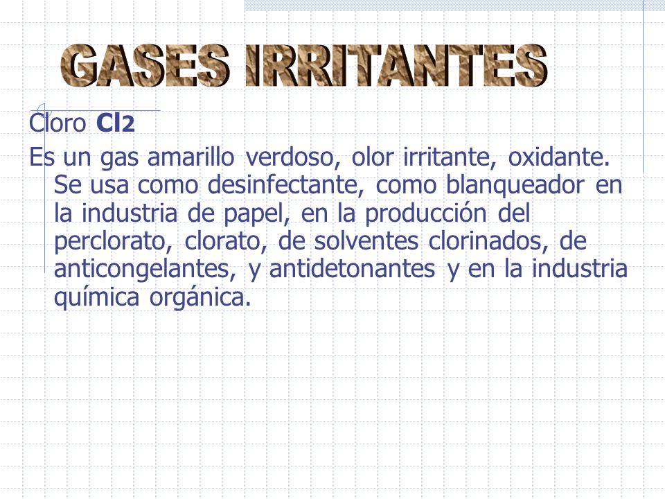 Cloro Cl 2 Es un gas amarillo verdoso, olor irritante, oxidante.