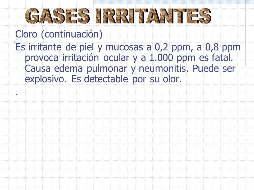 Cloro (continuación) Es irritante de piel y mucosas a 0,2 ppm, a 0,8 ppm provoca irritación ocular y a 1.000 ppm es fatal.