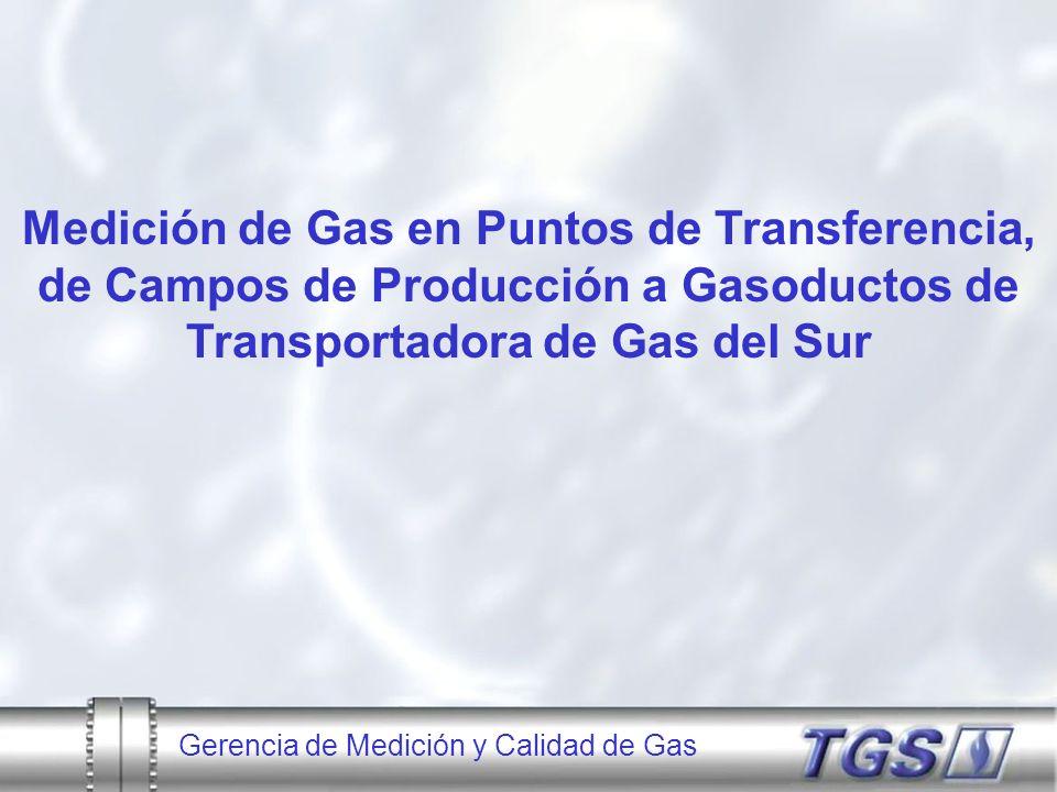 Gerencia de Medición y Calidad de Gas Localización de los puntos de transferencia del Productor al Gasoducto