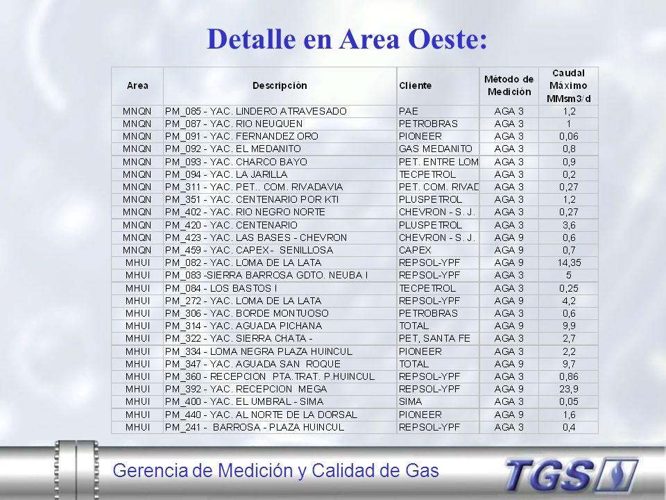Gerencia de Medición y Calidad de Gas Detalle en Area Oeste: