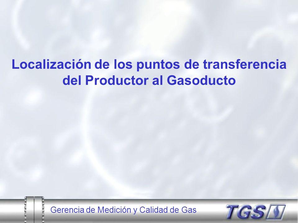 Gerencia de Medición y Calidad de Gas A desarrollar: Distribución del Sistema de Medición 54 Cromatógrafos en línea 40 PM de Recepción 169 PM de Entrega 35 PM de Transferencia entre Gasoductos 62 PM en Plantas Comp.