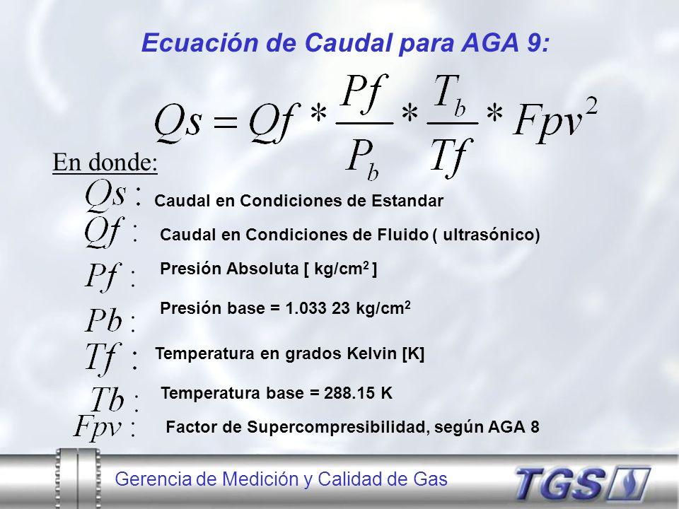 Gerencia de Medición y Calidad de Gas Ecuación de Caudal para AGA 9: En donde: Caudal en Condiciones de Estandar Caudal en Condiciones de Fluido ( ult
