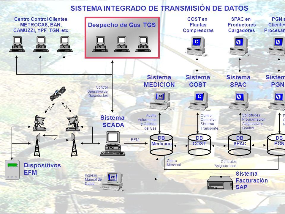 DIRECCIÓN DE OPERACIONES GERENCIA DE MEDICIÓN Y CALIDAD DE GAS Sistema SCADA Despacho de Gas TGS Control Operativo de Gasoductos Sistema MEDICION Audi