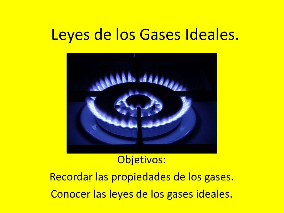 Leyes de los Gases Ideales.Objetivos: Recordar las propiedades de los gases.