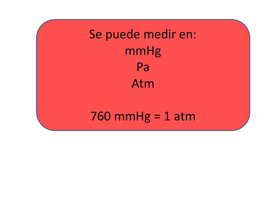 Se puede medir en: mmHg Pa Atm 760 mmHg = 1 atm