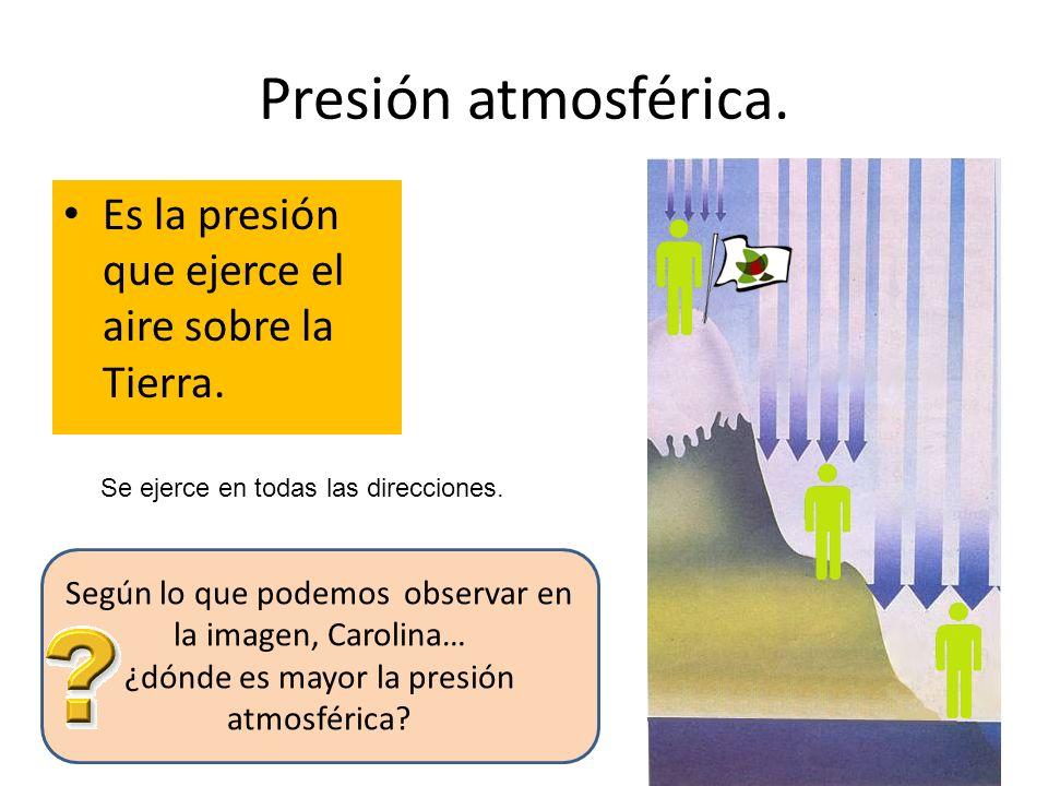 Presión atmosférica.Es la presión que ejerce el aire sobre la Tierra.
