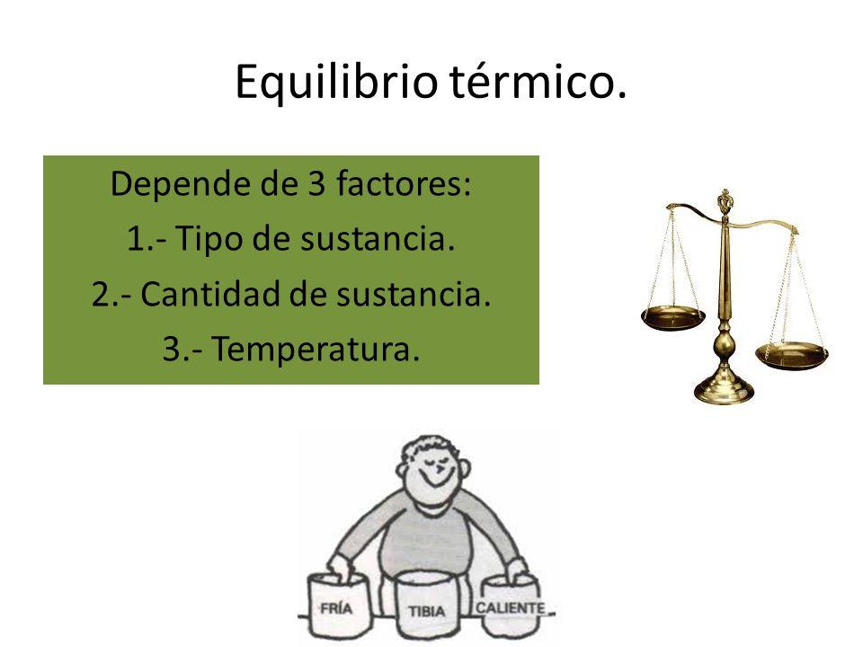 Equilibrio térmico.Depende de 3 factores: 1.- Tipo de sustancia.