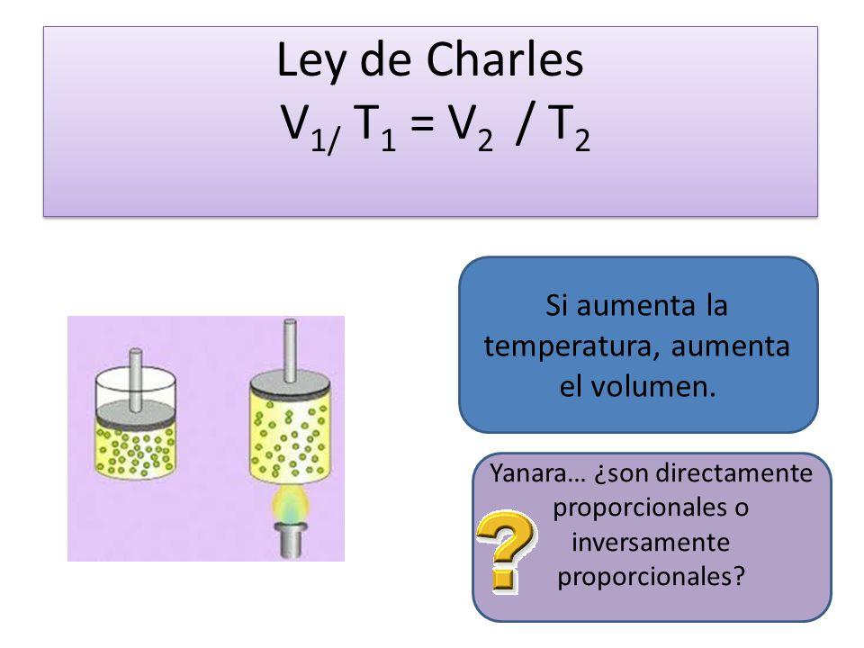 Ley de Charles V 1/ T 1 = V 2 / T 2 Si aumenta la temperatura, aumenta el volumen.