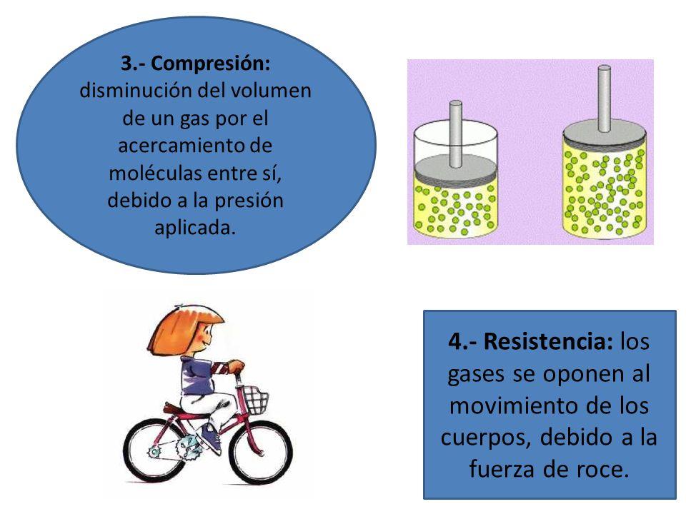 3.- Compresión: disminución del volumen de un gas por el acercamiento de moléculas entre sí, debido a la presión aplicada.