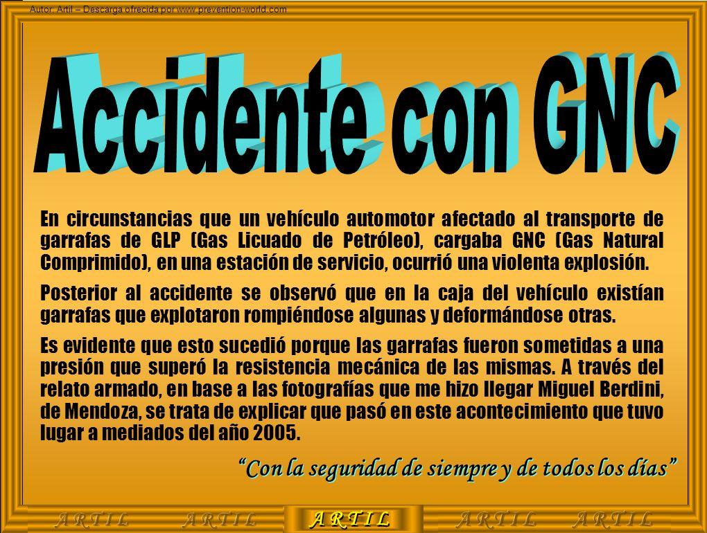A R T I L Autor: Artil – Descarga ofrecida por www.prevention-world.com En circunstancias que un vehículo automotor afectado al transporte de garrafas