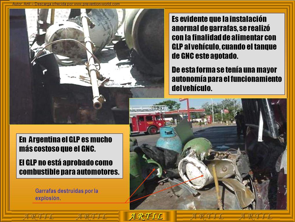 A R T I L Autor: Artil – Descarga ofrecida por www.prevention-world.com Garrafas destruidas por la explosión. Es evidente que la instalación anormal d