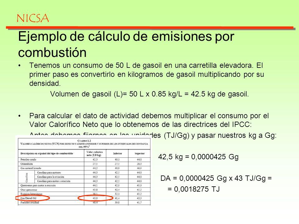 Para calcular las emisiones por combustión, consideramos los datos de las Directrices del IPCC.