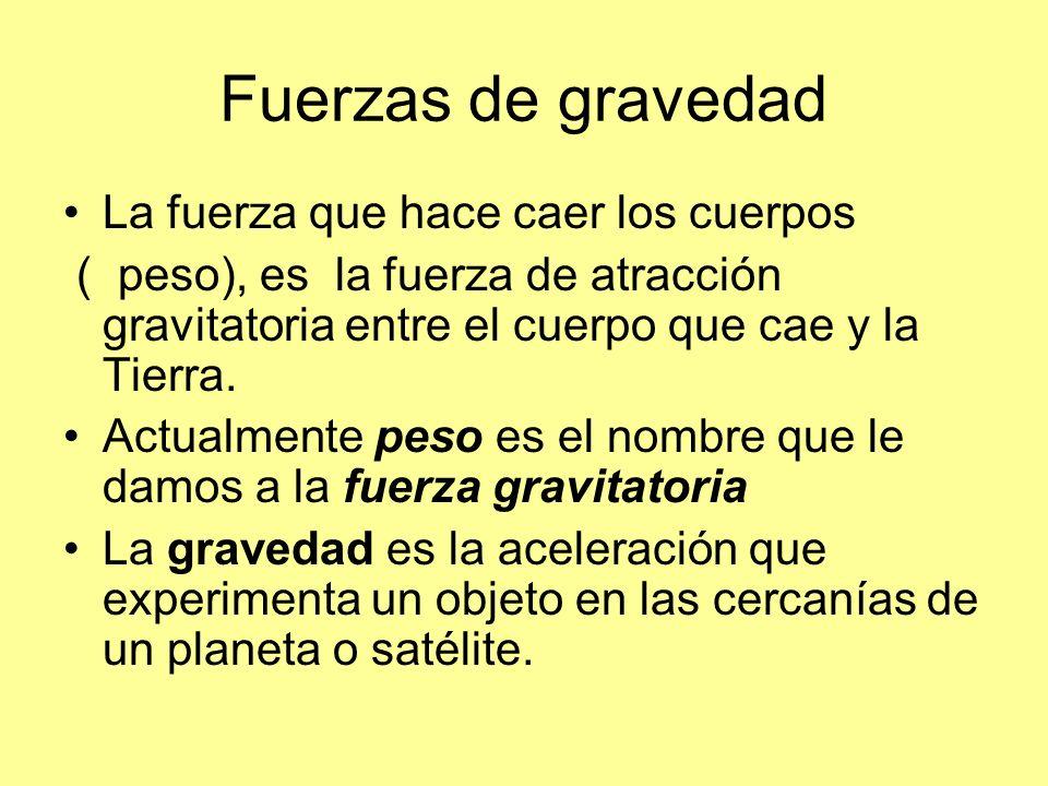 Fuerzas de gravedad La fuerza que hace caer los cuerpos ( peso), es la fuerza de atracción gravitatoria entre el cuerpo que cae y la Tierra. Actualmen