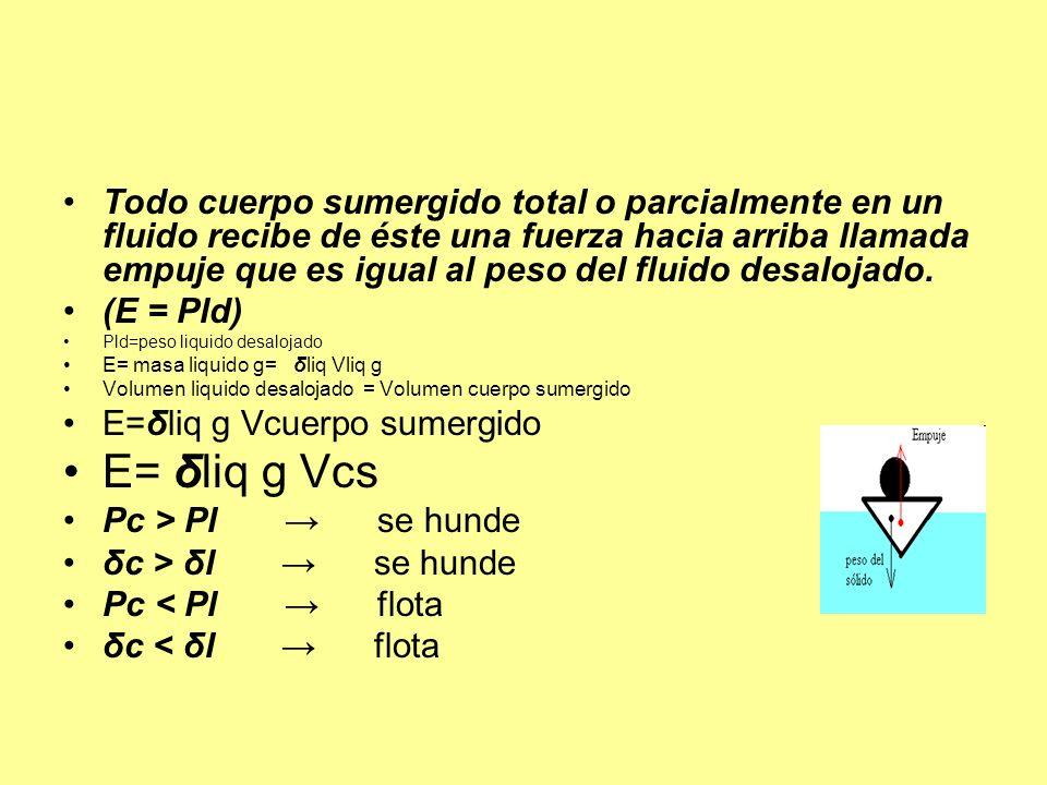 Todo cuerpo sumergido total o parcialmente en un fluido recibe de éste una fuerza hacia arriba llamada empuje que es igual al peso del fluido desaloja