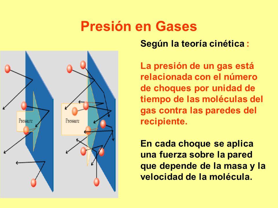 Presión en Gases Según la teoría cinética : La presión de un gas está relacionada con el número de choques por unidad de tiempo de las moléculas del g