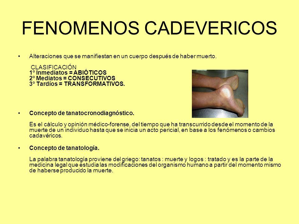 FENOMENOS CADEVERICOS Alteraciones que se manifiestan en un cuerpo después de haber muerto. CLASIFICACIÓN 1º Inmediatos = ABIÓTICOS 2º Mediatos = CONS