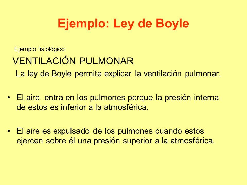 Ejemplo: Ley de Boyle Ejemplo fisiológico: VENTILACIÓN PULMONAR La ley de Boyle permite explicar la ventilación pulmonar. El aire entra en los pulmone