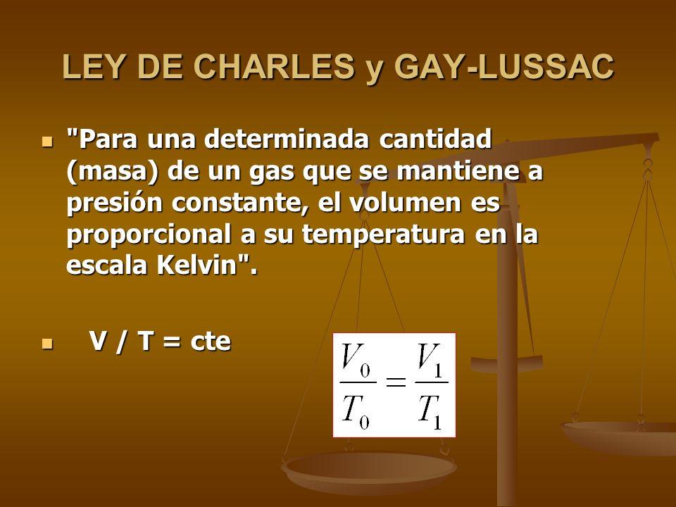 LEY DE BOYLE-MARIOTTE Para una determinada masa de gas el volumen es inversamente proporcional a la presión ejercida, si la temperatura se mantiene constante: Para una determinada masa de gas el volumen es inversamente proporcional a la presión ejercida, si la temperatura se mantiene constante: P.V = constante.