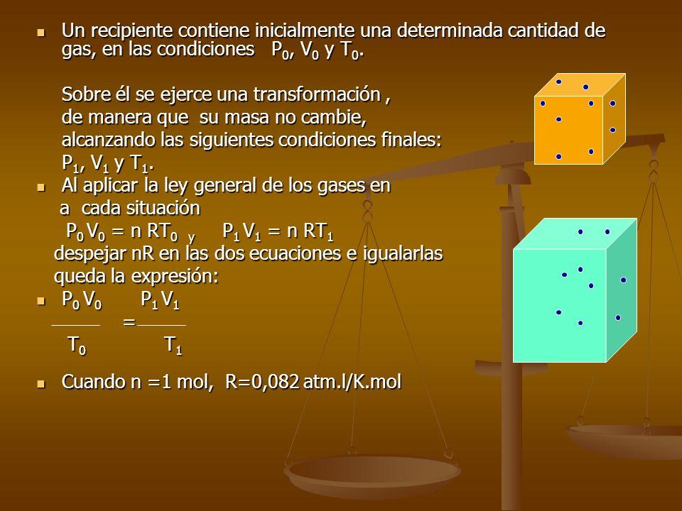 ECUACIÓN GENERAL DE LOS GASES Combinando las tres leyes anteriores, junto con la de Avogadro: Combinando las tres leyes anteriores, junto con la de Av