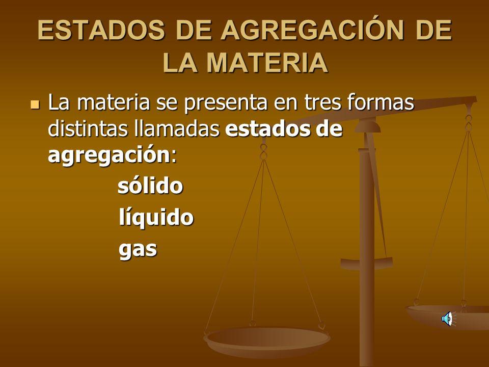 TEMA 2: GASES. PROPIEDADES. LEYES. TEORIA CINETICO-MOLECULAR. 1.- Estados de agregación de la materia. Cambios de estado. 1.- Estados de agregación de
