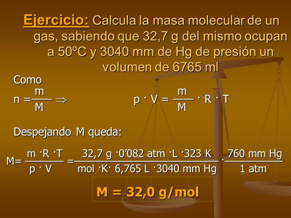 Ejemplo: A la presión de 3 atm y 20 ºC, una cierta masa gaseosa ocupa un volumen de 30 litros.