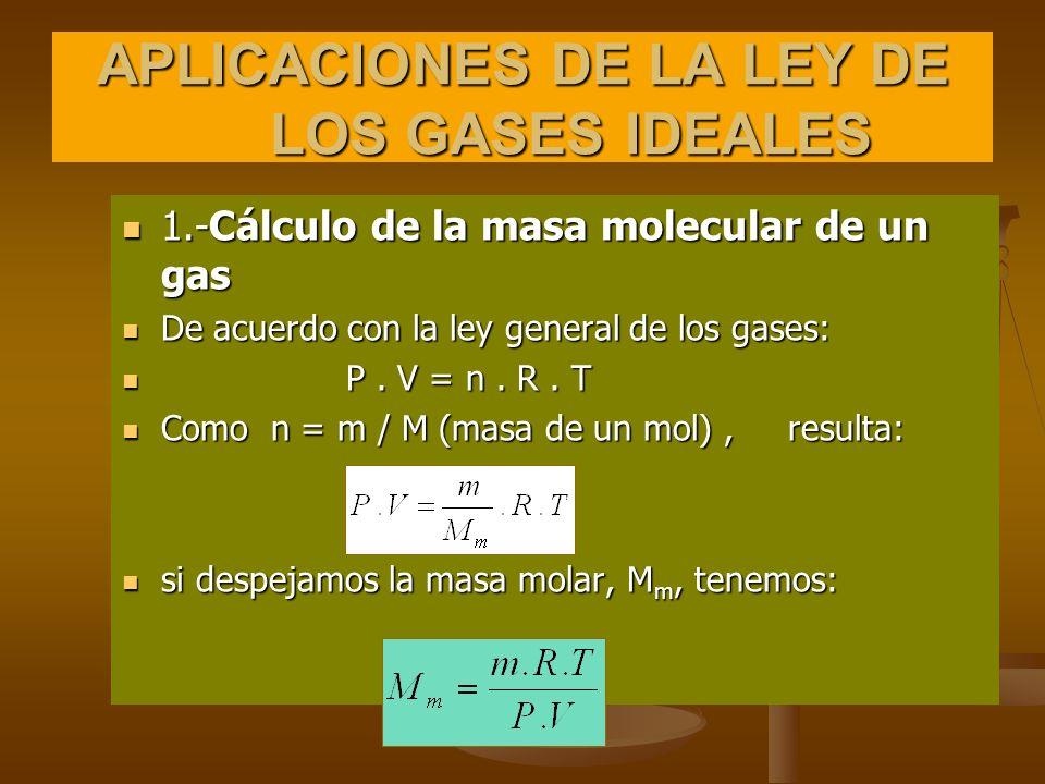 Ejercicio: Calcula la masa molecular de un gas, sabiendo que 32,7 g del mismo ocupan a 50ºC y 3040 mm de Hg de presión un volumen de 6765 ml Como Como m m n = p · V = · R · T M M m m n = p · V = · R · T M M Despejando M queda: Despejando M queda: m ·R ·T 32,7 g ·0082 atm ·L ·323 K 760 mm Hg M= = · p · V mol ·K· 6,765 L ·3040 mm Hg 1 atm m ·R ·T 32,7 g ·0082 atm ·L ·323 K 760 mm Hg M= = · p · V mol ·K· 6,765 L ·3040 mm Hg 1 atm M = 32,0 g/mol M = 32,0 g/mol