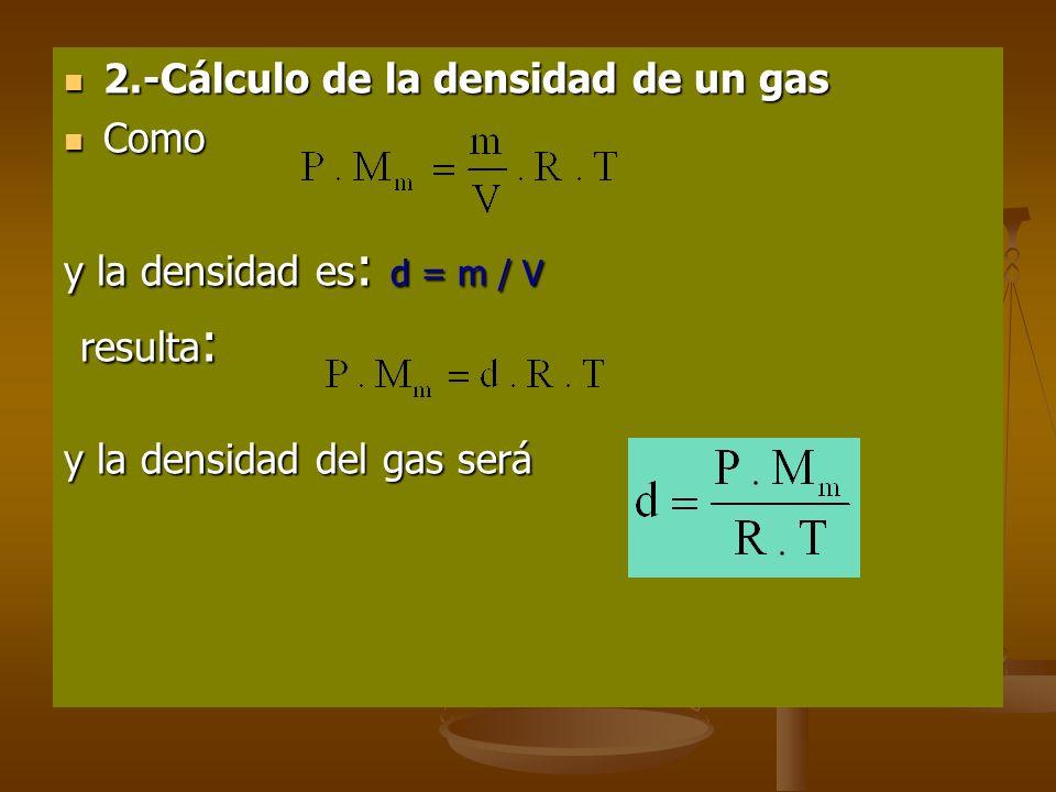 APLICACIONES DE LA LEY DE LOS GASES IDEALES 1.-Cálculo de la masa molecular de un gas 1.-Cálculo de la masa molecular de un gas De acuerdo con la ley