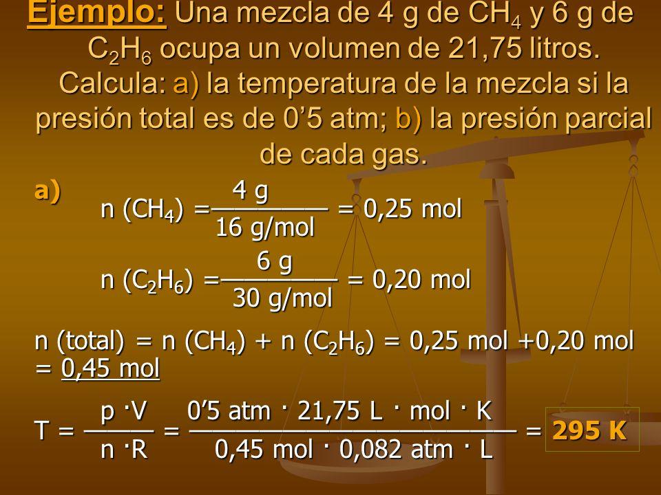 La presión que ejerce el gas en el recipiente A + La presión que ejerce el gas en el recipiente B = a la presión total de la mezcla de los dos gases.